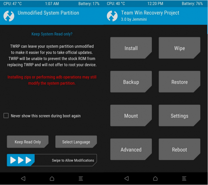 TWRP Initial Interface