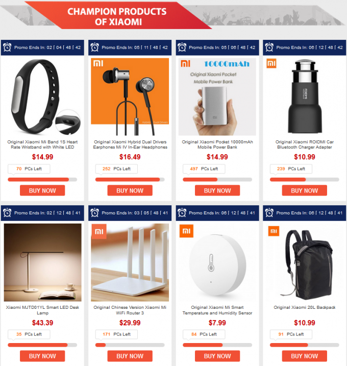 xiaomi promo products gearbest