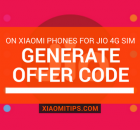 Generate offer code jio xiaomi